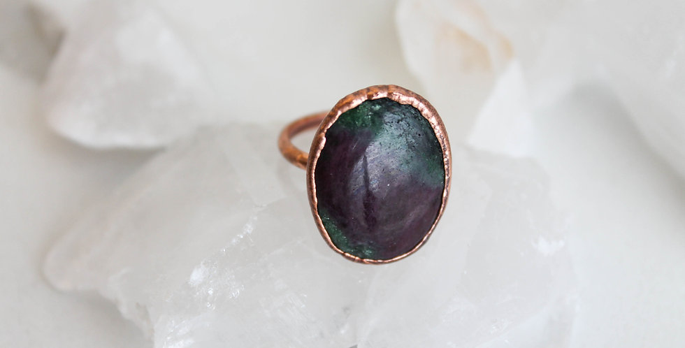 Ruby in Zoisite Copper Electroformed Ring