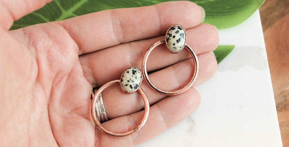 Medium Copper Hoops with Dalmatian Jasper