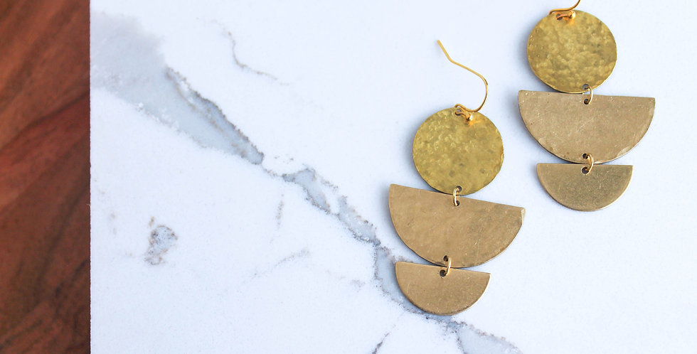No. 132 Brass Disc and Half Circle Earrings