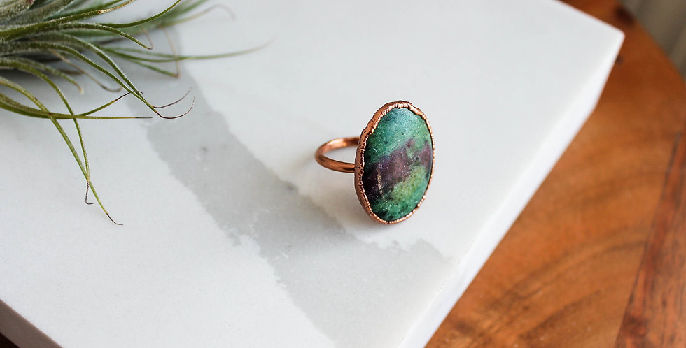 Ruby in Zoisite Large Statement Ring Size 8.25