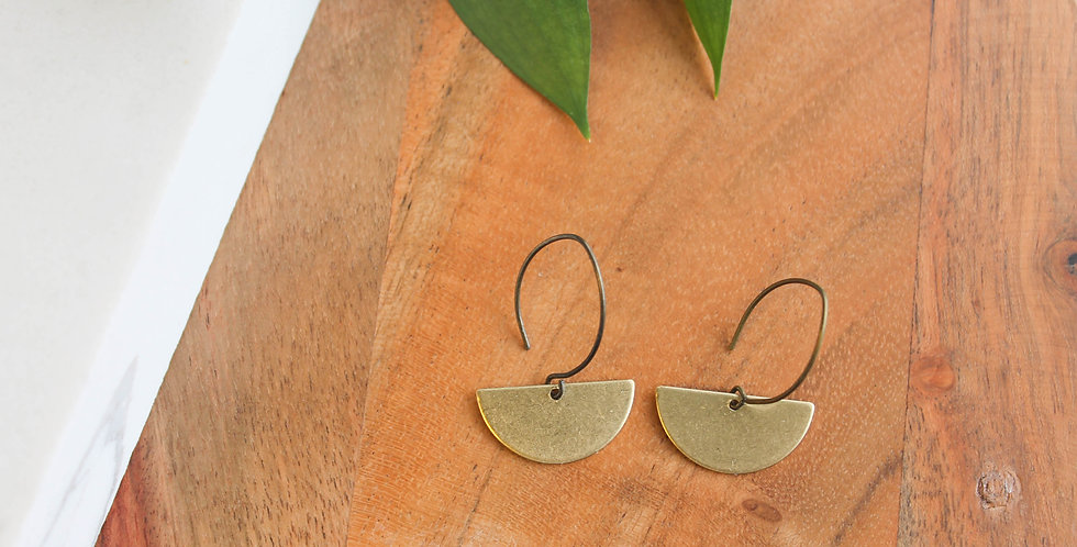 No. 122 Small Half Circle Brass Earrings
