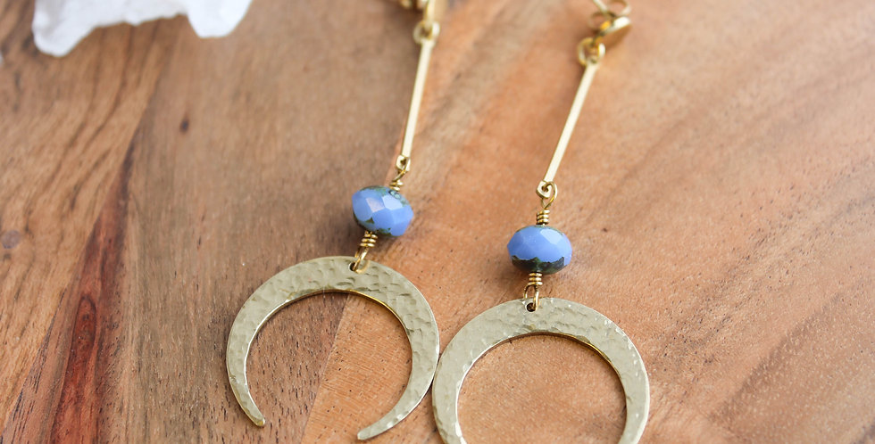 No. 112 Blue Bead Crescent Earrings