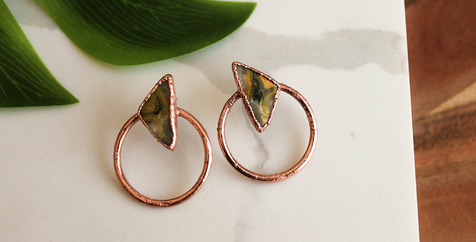 Medium Copper Hoops with Bumble Bee Jasper
