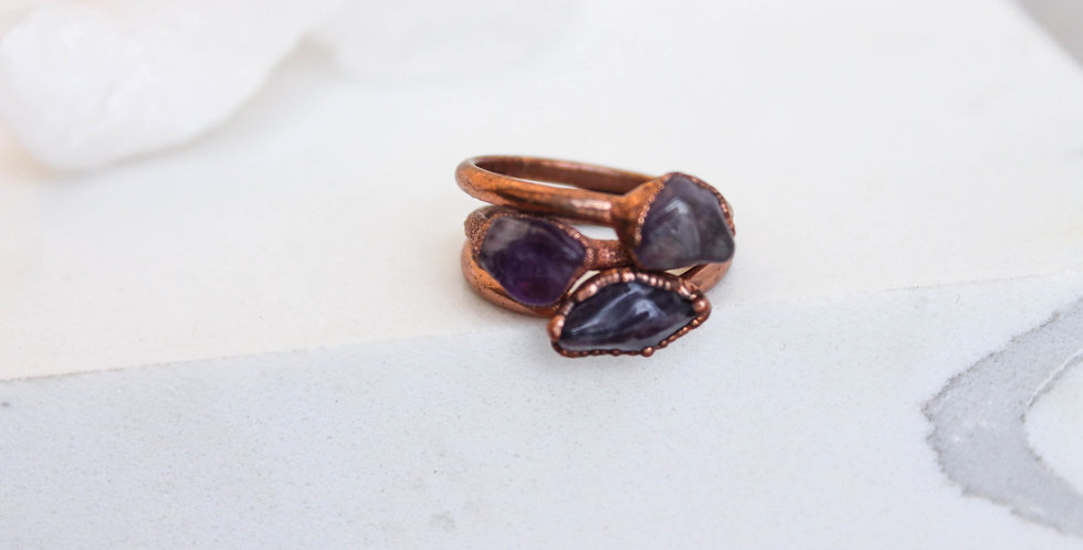 Pre-order Amethyst Copper Electroformed Ring