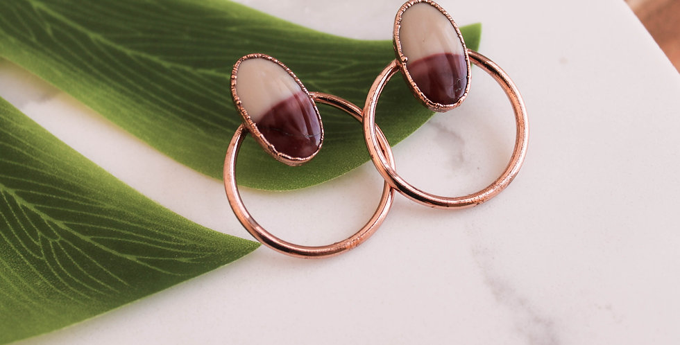 Medium Copper Hoops with Mookaite