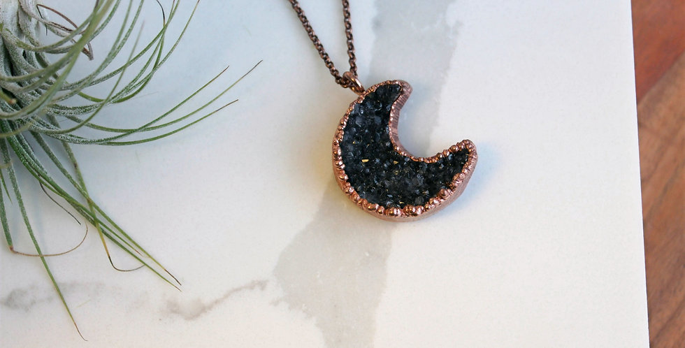 No. 116 Druzy Moon Copper Necklace