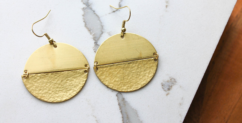 No. 183 Hammered Brass Earrings