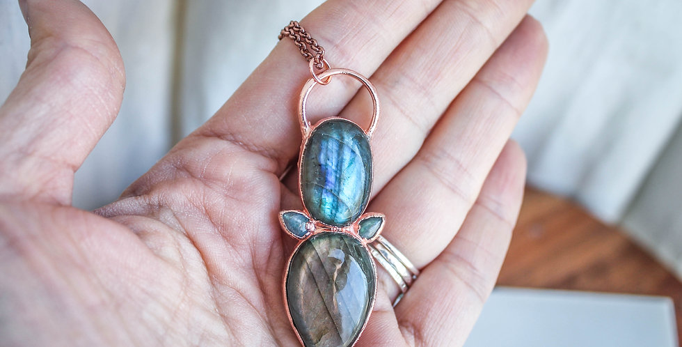 Labradorite and Copper Statement Necklace