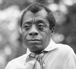 A portrait of James Baldwin.