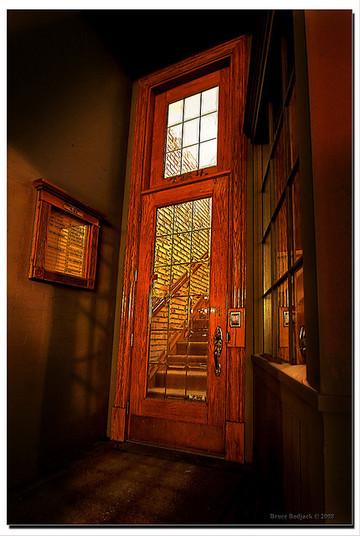 oak door with toplight