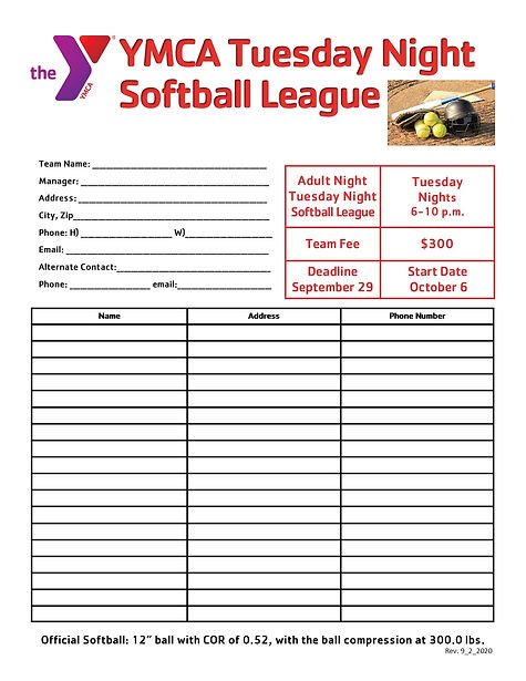 -Fall Softball Tues League SIGN UP SHEET