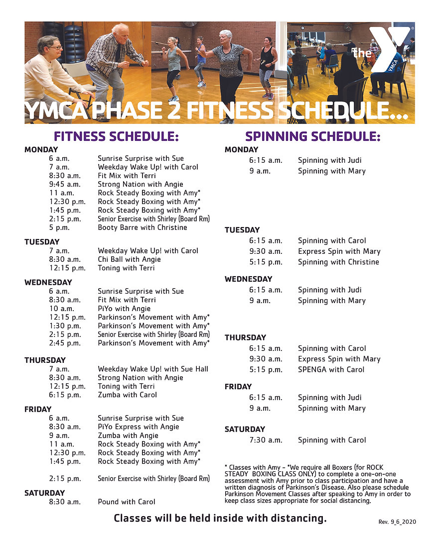 YMCA STAGE 2 FITNESS AND SPINNING SCHEDU
