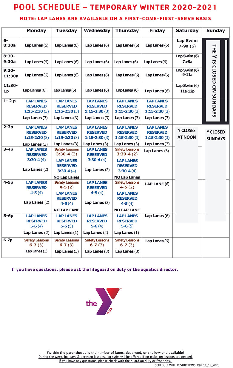 MASTER POOL TEMPORARY SCHEDULE 2020-2021