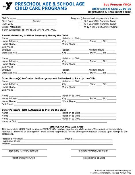 Registration Form After School 2019-20-1
