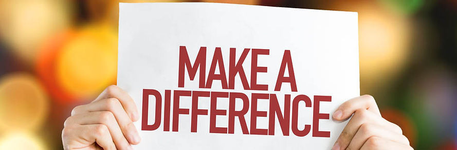 Make a difference sign with red letterin