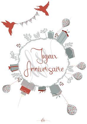 """Carte """"Joyeux anniversaire"""" """"La terre"""""""