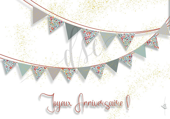 """Carte """"Joyeux anniversaire"""" """"Guirlande de Fanions"""""""""""
