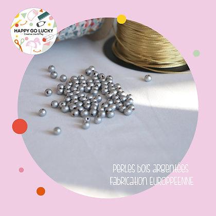 15 perles en bois argentées