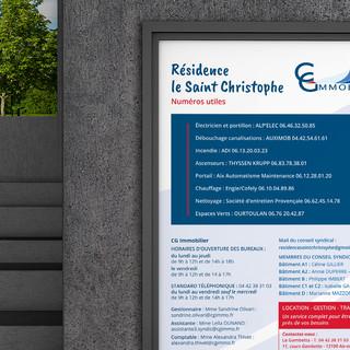 Création et fabrication de cartes de visite, signalétique et enseigne pour les agences immobilières CG Immobilier