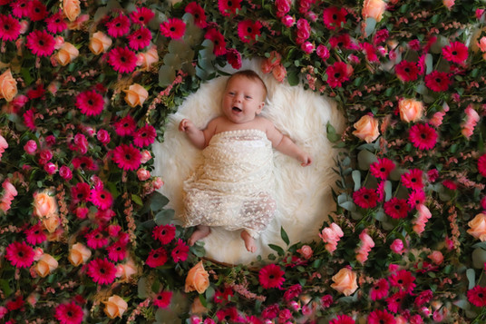 newborn girl wrapped in lace, surrounded by roses and pink flowers
