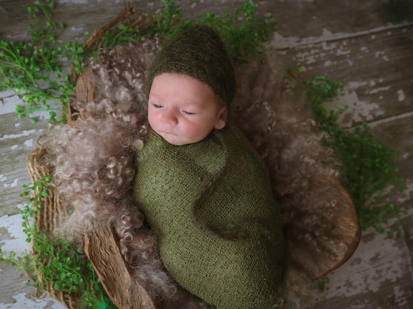 sleepy newborn lying in wooden bowl