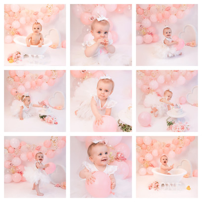 Cake Smash photoshoot in Aldershot, Hampshire for a baby girl turning 1, decorated with pink and gold balloons and pink flowers