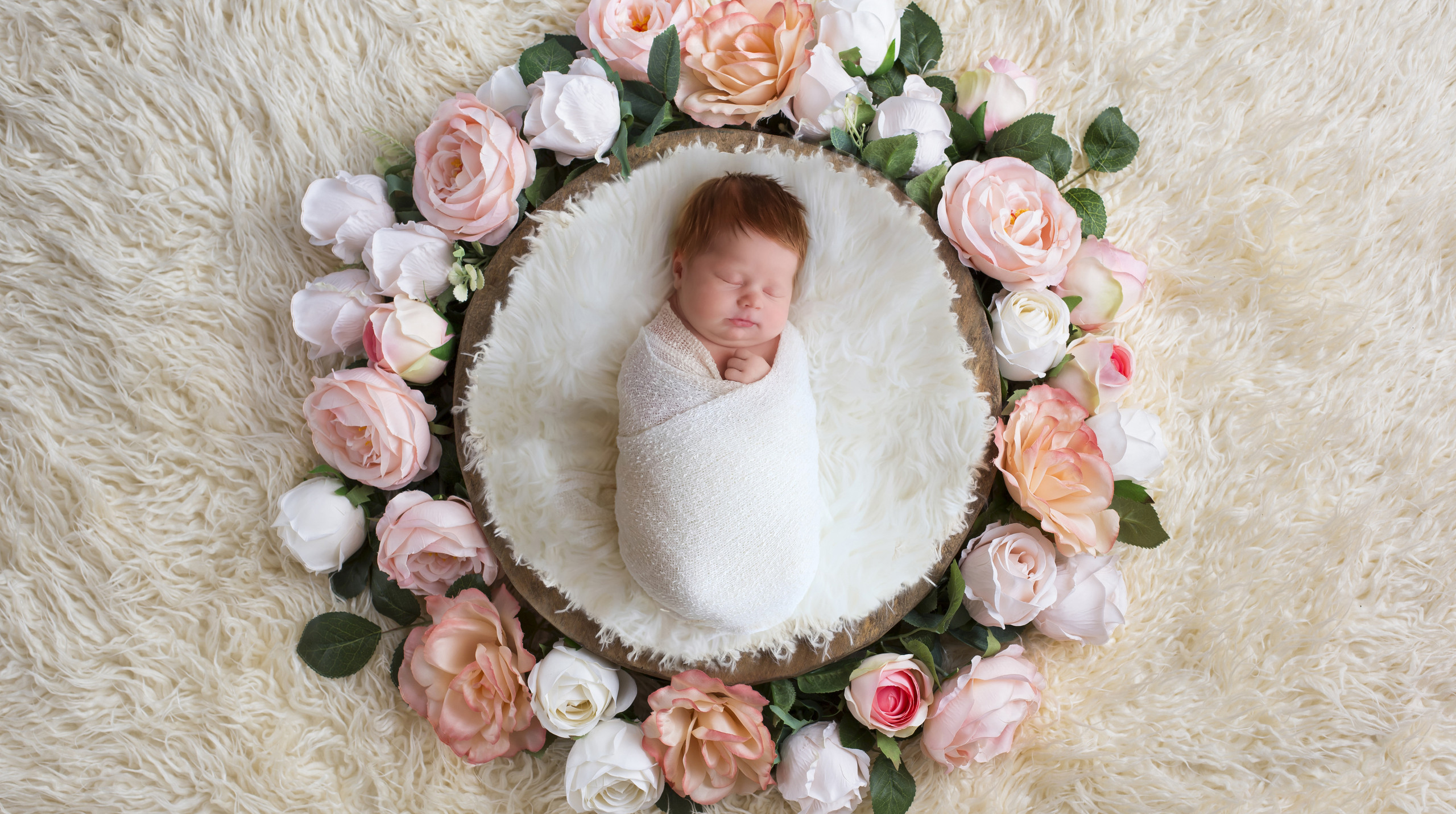 sleeping girl lying in bowl surrounded by roses