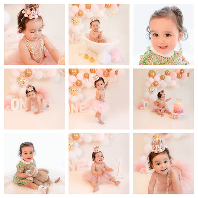 Cake Smash photoshoot in Aldershot, Hampshire for a baby girl turning 1, decorated with pink balloons and pink flowers