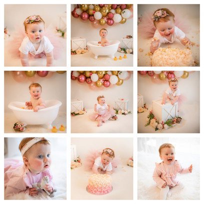cake smash photography in surrey and hampshire with a pink, gold and white theme for a baby girl on her first birthday