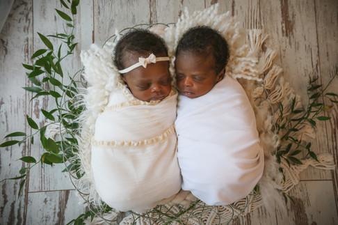 boy girl twins wearing white