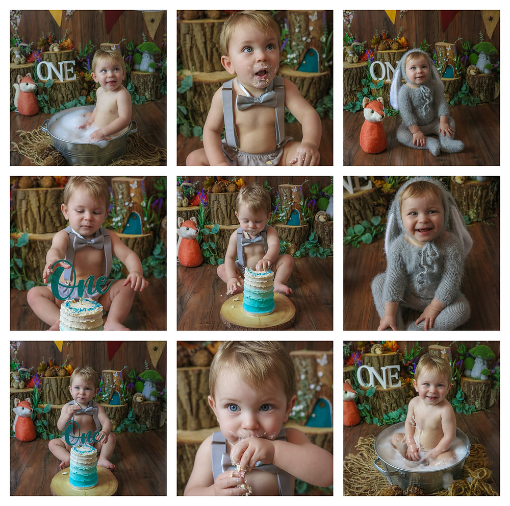 collage of baby boy celebrating his first birthday with a woodland themed cake smash