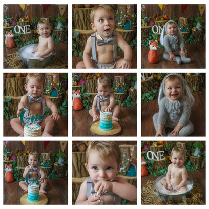 collage of cute blonde baby boy with big blue eyes having a woodland themed cake smash and smash photography session