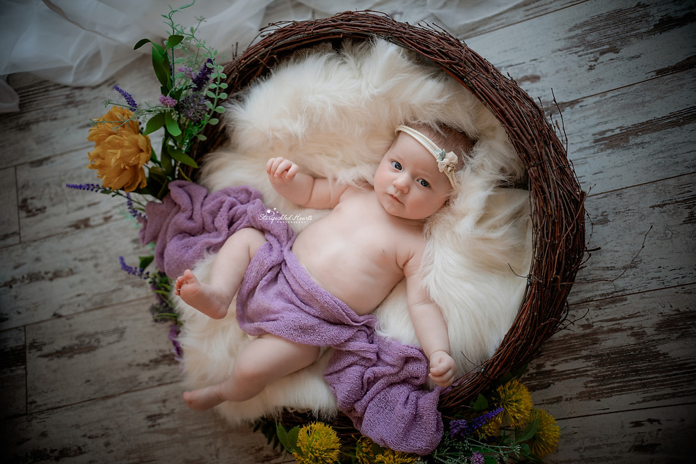beautiful baby girl in purple lying in a woven basket on a white fur rug for her newborn photography session in berkshire hampshire surrey