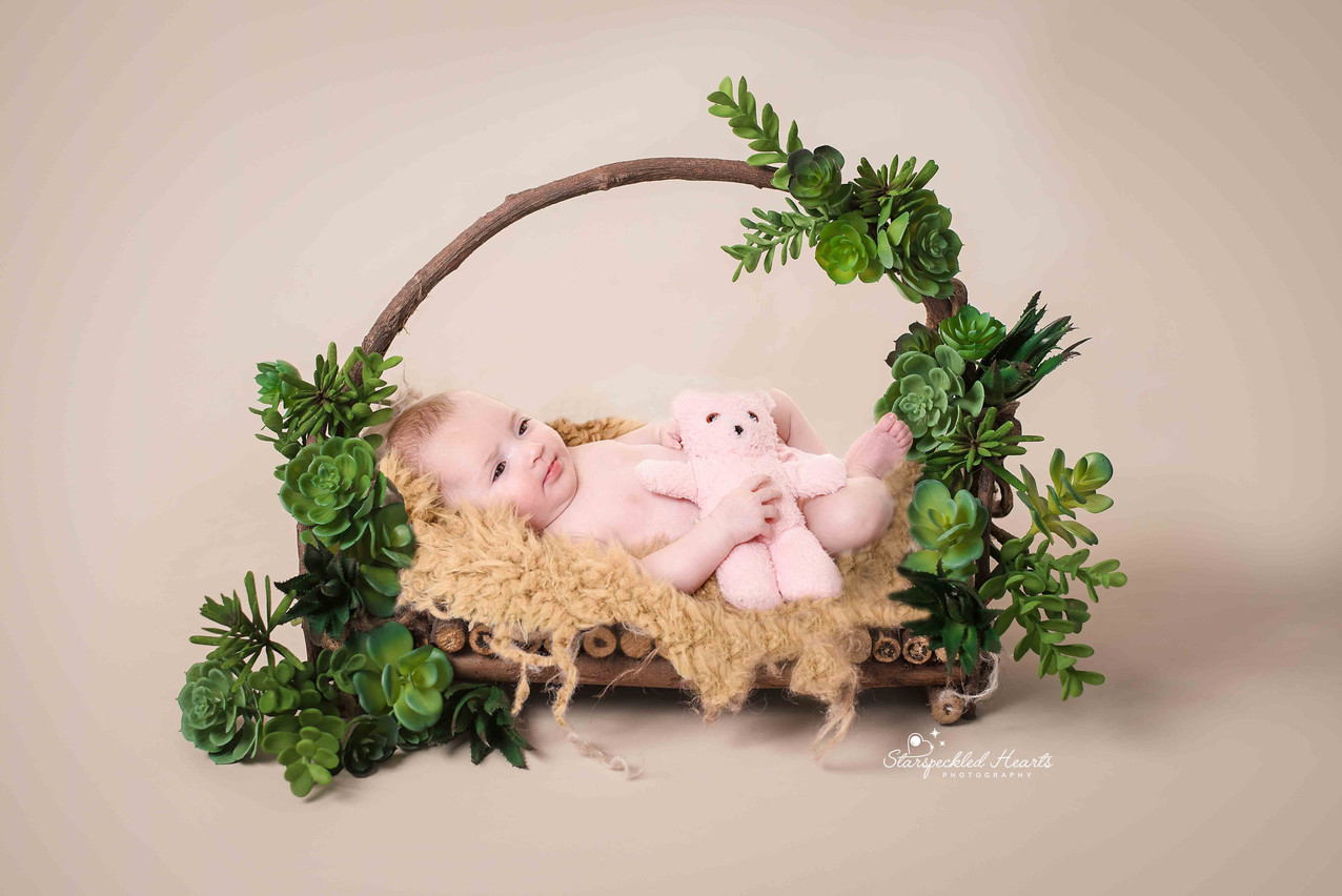 cute baby girl laying in a brown wooden bed surrounded by succulents