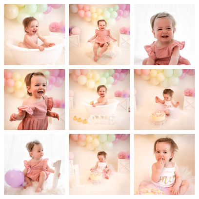 cake smash photography in surrey and hampshire with a rainbow theme for a baby girl on her first birthday