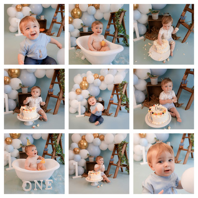 Peter rabbit themed cake smash in berkshire with a blue and white theme for a baby boy