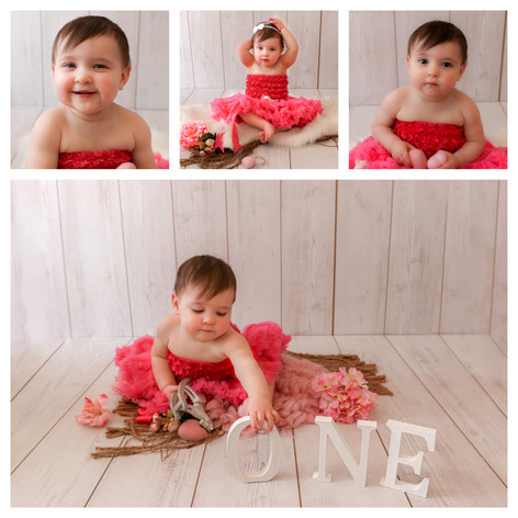 collage of cute dark haired baby girl with big brown eyes, wearing a hot pink romper suit and matching tutu, having a cute girly photography session