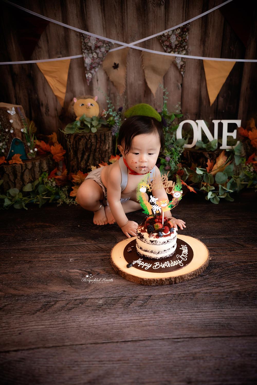 closeup little boy eating cake