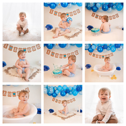 cake smash in berkshire, hampshire, surrey with a blue and white theme for a baby boy