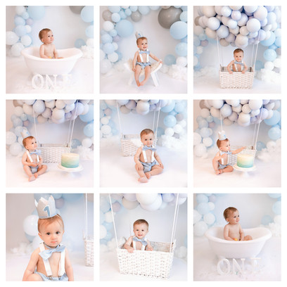 cake smash in hampshire surrey berkshire with a pastel blue and white theme for a baby boy