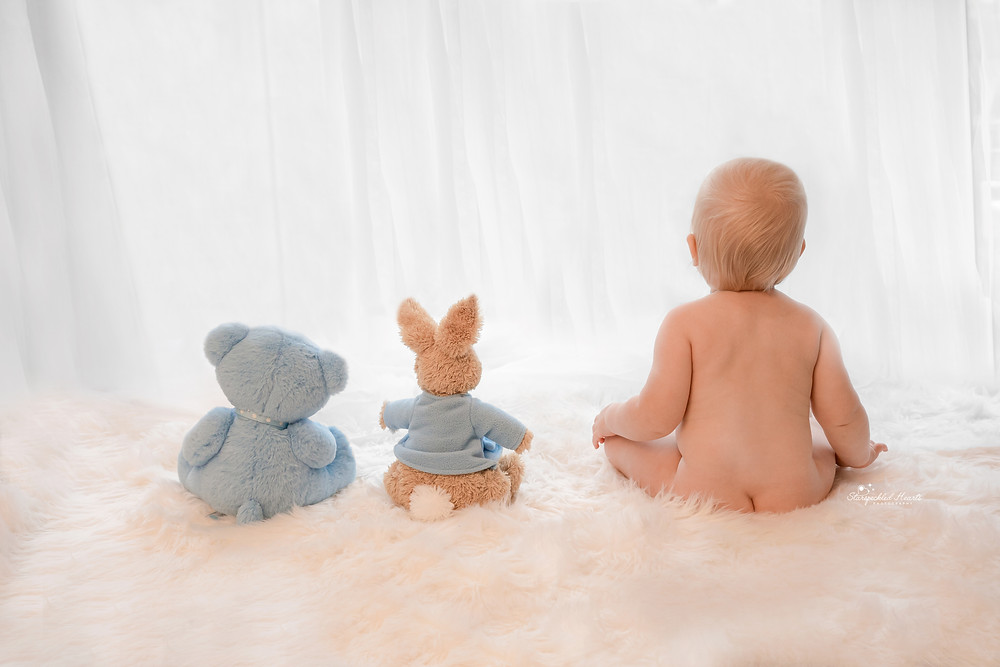 baby boy looking out a window sitting in a row with his teddybear and bunny teddy