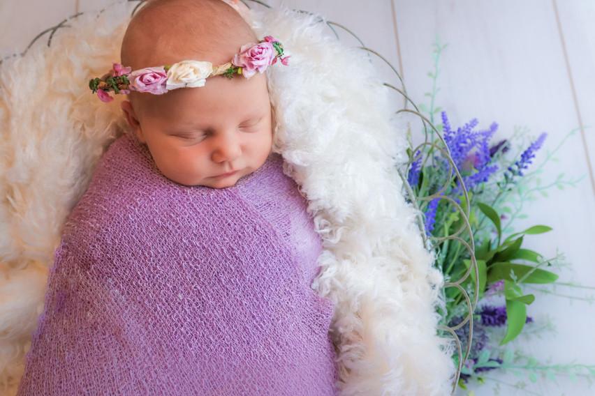 sleeping newborn girl in purple wearing floral wreath