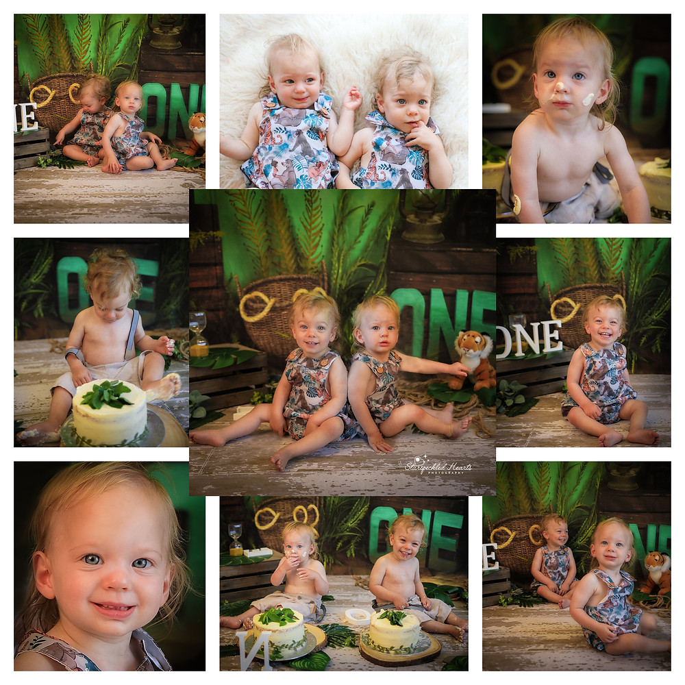 jungle themed cake smash session for twin boys