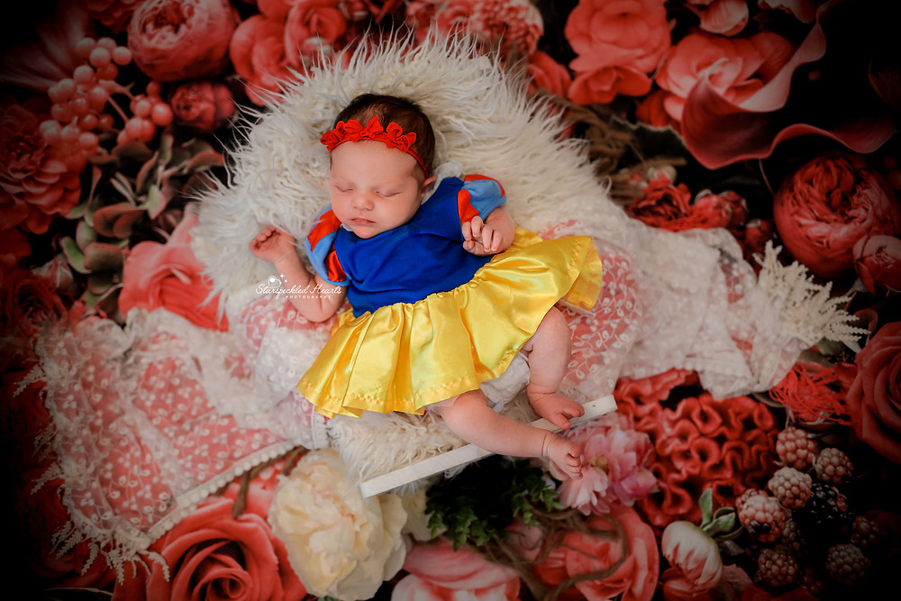 sleeping newborn girl in a bed wearing a snow white dress, surrounded by red flowers