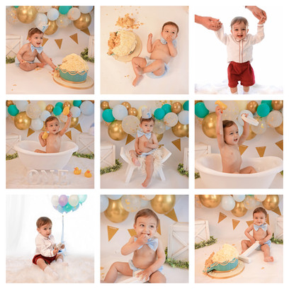 cake smash photography in surrey and hampshire with a gold blue and turquoise theme for a baby boy on his first birthday