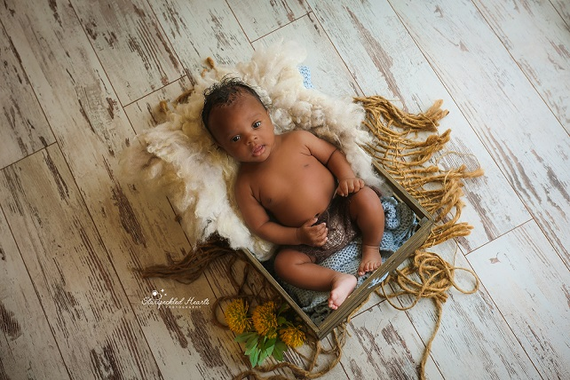 handsome baby boy laying in a brown wooden crate, wearing knitted brown shorts