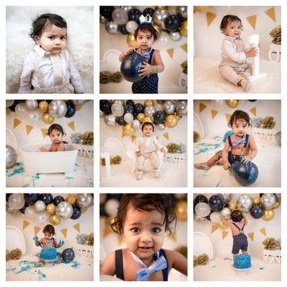 cake smash in hampshire with a navy, gold and silver theme for a baby boy on his first birthday