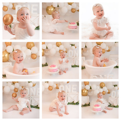 cake smash photography in surrey and hampshire with a white and gold theme for a baby girl on her first birthday