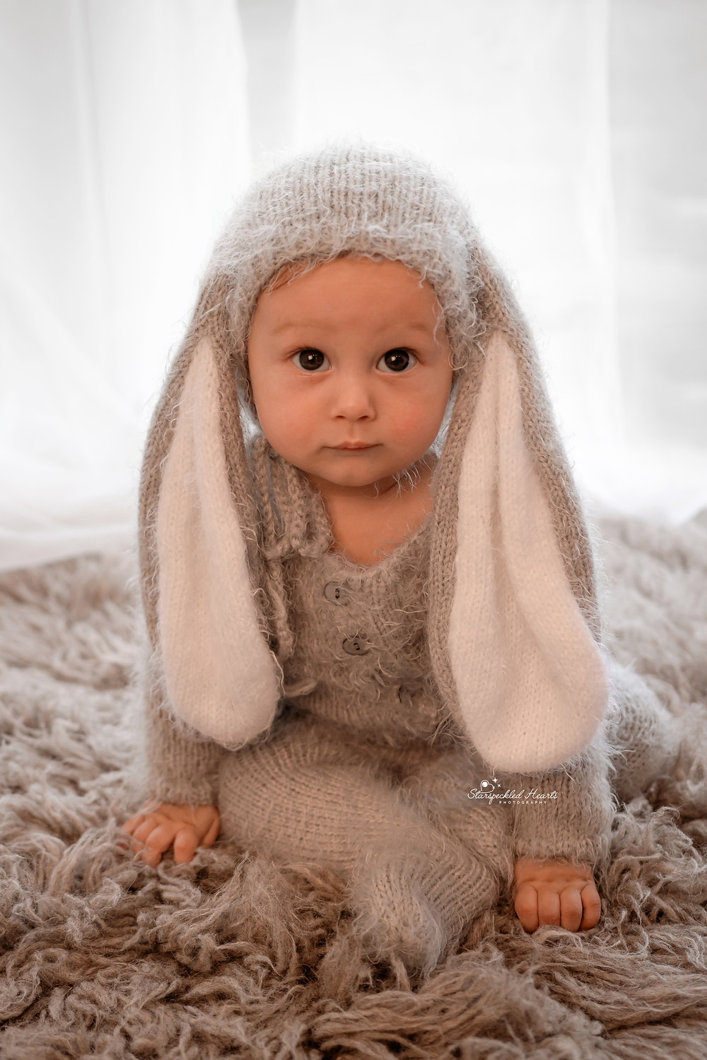 adorable baby boy dressed as a bunny