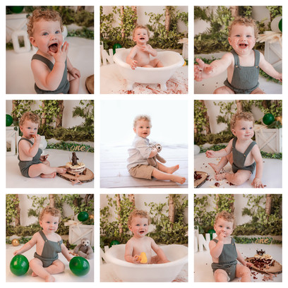collage of cute curly haired baby boy with big blue eyes having a woodland themed cake smash and smash photography session in aldershot, hampshire near berkshire